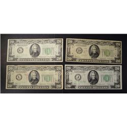 2-1934 & 2-1934-A $20.00 FEDERAL RESERVE NOTES