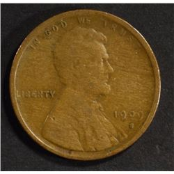 1909-S LINCOLN CENT, VG+ KEY COIN
