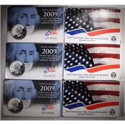3-2009 & 3-2010 U.S. PROOF QUARTER PROOF SETS