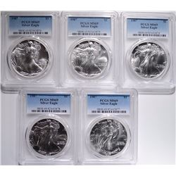5-1987 AMERICAN SILVER EAGLES PCGS-MS69