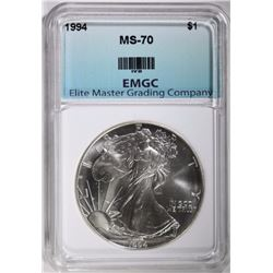 1994 AMERICAN SILVER EAGLE, EMGC PERFECT GEM BU