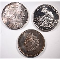 3 -DIFFERENT  SILVER 1 oz ROUNDS