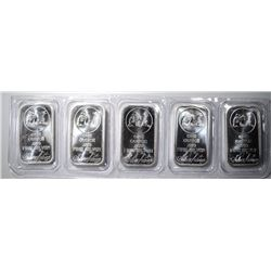 "5-ONE OUNCE .999 ""PROSPECTOR"" SILVER BARS"