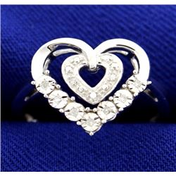 Diamond Heart Ring in Sterling Silver