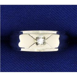 Diamond Band Soliataire Ring in 14K White Gold