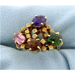18K Multi-Color Gemstone Ring