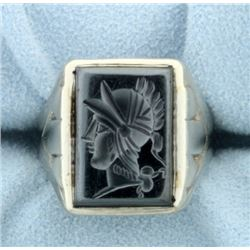 Hematite Gladiator Head Signet Ring