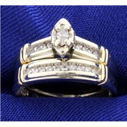 Vintage Diamond Engagement Ring & Wedding Band Set