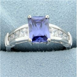 Synthetic Tanzanite and CZ Ring in 14k white gold