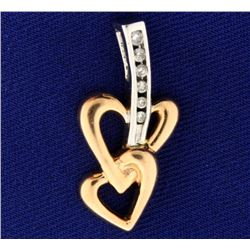 Rose and White Gold Diamond Hearts Pendant