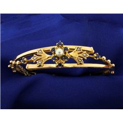 Sapphire and Cultured Pearl Hinged Bangle Bracelet