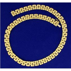 17 Inch Panther Link 18k Gold Necklace
