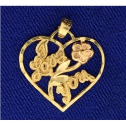 Yellow and Rose Gold I Love You Flower Pendant