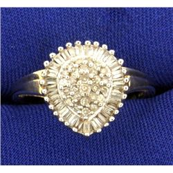 1 ct TW Pear Shaped Large Diamond Cocktail Ring
