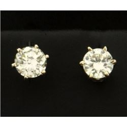 .9ct TW Diamond Stud Earrings in 14k White Gold Settings