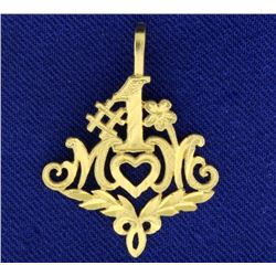 #1 Mom Pendant in 14k Gold
