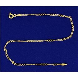 Italian Made 9 1/2 Inch Figaro Link Anklet