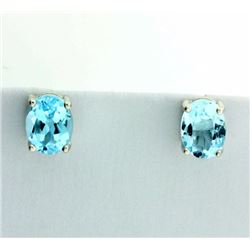 Oval 3ct TW Sky Blue Topaz Stud Earrings