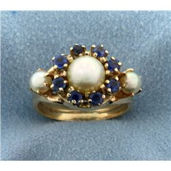 Antique Sapphire and Pearl Ring