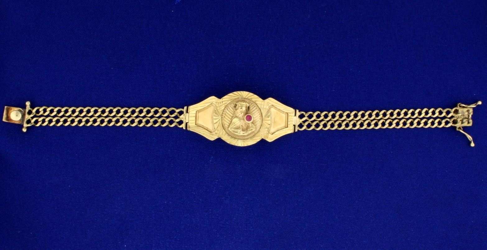 Image 1 8 Inch Gold Virgin Mary Bracelet With Ruby