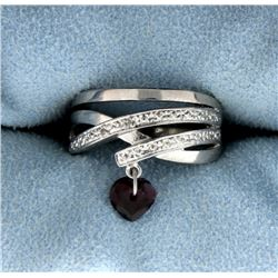 Heart Garnet and Diamond Ring in Sterling Silver