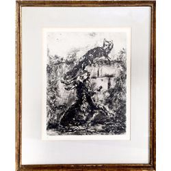 Marc Chagall, The Fox and the Ram, Plate 31, Etching