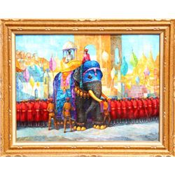 George Russin, Procession, Oil Painting