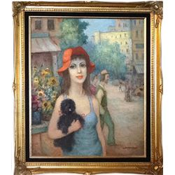 Hajnacka Szarka, Woman in Red Hat with Black Dog, Oil Painting