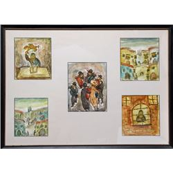 Simon Karczmar, Jewish Life, Framed Set of Five Gouache Paintings