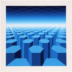 Jean-Pierre Vasarely (aka Yvaral), 50 Shades of Blue, Serigraph
