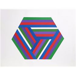 Jules Engel, Striped Hexagon, Acrylic Painting