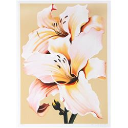 Lowell Blair Nesbitt, Peach Lily on Beige, Serigraph