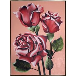 Lowell Blair Nesbitt, Three Pink Roses, Oil Painting