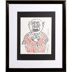 Keith Haring, New Year's Invitation 1988 (Suit), Silkscreen