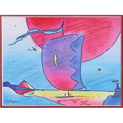 Peter Max, Sailboat Doodle, Crayon Drawing