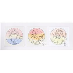 Peter Max, Ladies (Triptych), Set of Watercolor and Marker Drawings