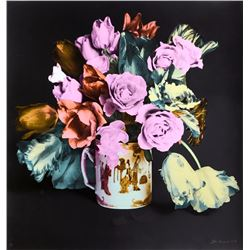 Francesco Scavullo, Roses and Tulips in Chinese Mug (Black), Screenprint