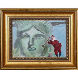 Santa Claus Painting the Statue of Liberty, Oil Painting
