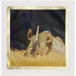 Sylvia Roth, Rhino in the Grass, Monoprint with Gold Leaf