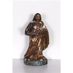 Religious Figure III, Hand-Carved and Painted Wood Sculpture