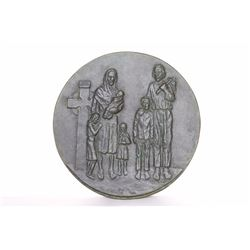 Christian Family, Bronze Decorative Plate