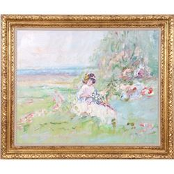 Fontaine, Girl in Meadow 2, Oil Painting