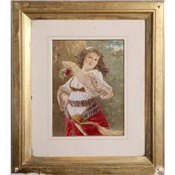 Joseph Wilson, Dancing Woman with Rose, Hand Colored Lithograph