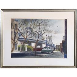 Joseph Barber, Lower East Side, Watercolor and Pastel Drawing