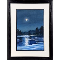 Joe Dunn, Moonlight Lake, Watercolor