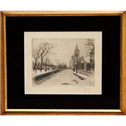 Elias M. Grossman, Central Park West, Etching