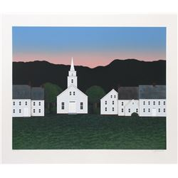 Theodore Jeremenko, Church at Sunset, Silkscreen