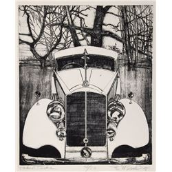 Bruce McCombs, Packard Twelve, Etching