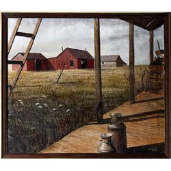 Thomas Kerry, View of Field from Porch, Oil Painting