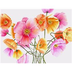 Barbara Segal, Iceland Poppies, Watercolor Drawing